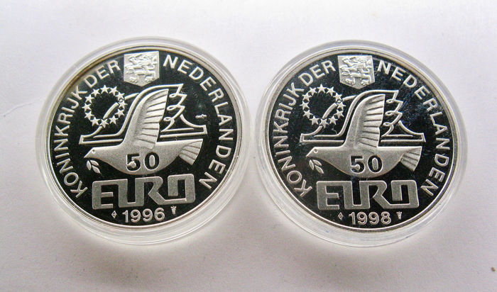 The Netherlands - 2x 50 (pre) Euro 1996 & 1998  - Willem Barentsz & M.C. Escher  - Silver