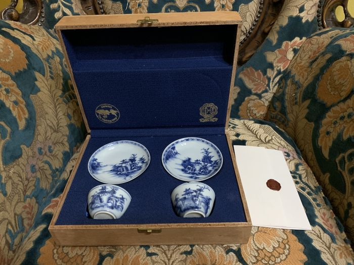 Beker, Schotels (5) - Hout, Porselein - 2 cups 2 saucers and box - China - 18e eeuw