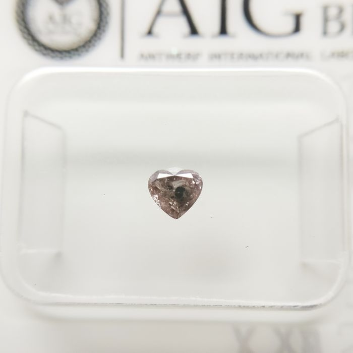 1 pcs Diamond - 0.17 ct - Heart - fancy purplish pink - I2