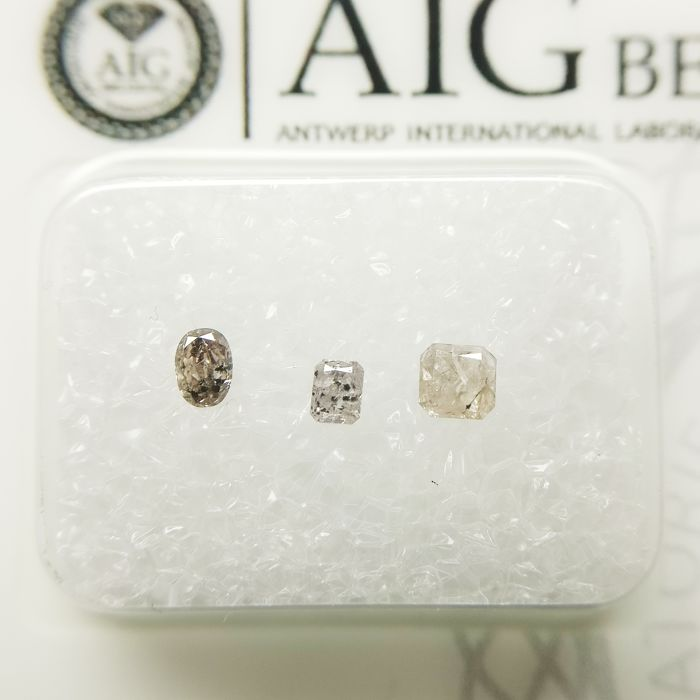 3 pcs Diamonds - 0.26 ct - Oval, Radiant - I1, I3 (piqué)