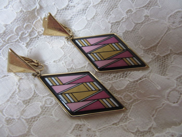 Michaela Frey Austria enamel, Gold-plated - Clip-on, Earrings