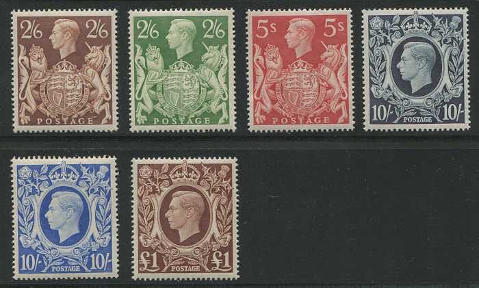 Groot-Brittannië 1939/1948 - 1939-48 George VI set of 6 High Values complete - Stanley Gibbons 476/478c