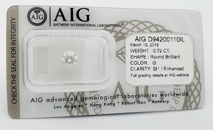 Diamant - 0.72 ct - Briljant - G - SI1