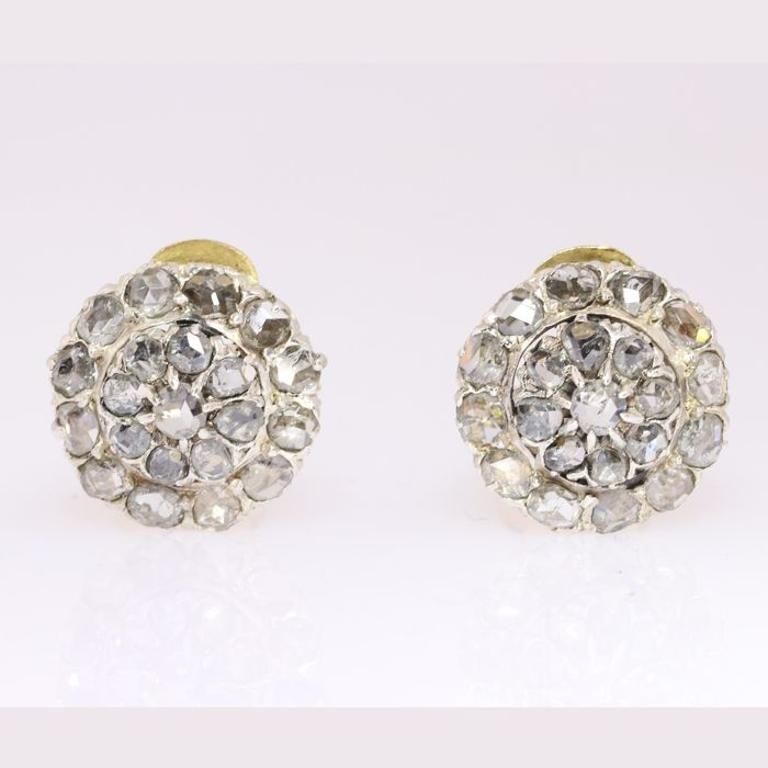 18 carats Or jaune, Or rouge, Platine - Boucles d'oreilles, Epoque 1910 - Art Déco - Diamants