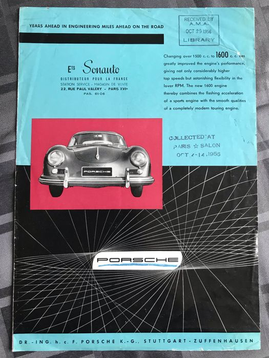 Brochures / Catalogi - Porsche 356 A Carrera Speedster 550 Spyder Sonauto  - 1956-1957 (1 items)