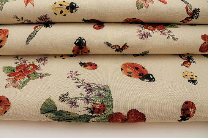 5.20 meters !!! gobelin fabric, spring collection with flowers and ladybugs design. - cotton blend - Late 11th century