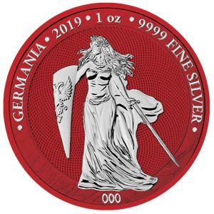 """Germany - 5 Mark 2019 """"Germania Space Red""""  - 1 Oz - Silver"""