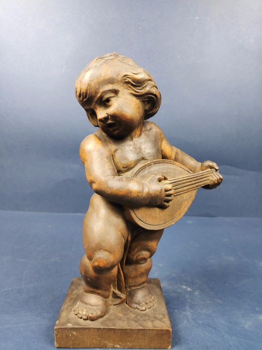 Sculpture, Angel with guitar (1) - Wood - ca. 1900