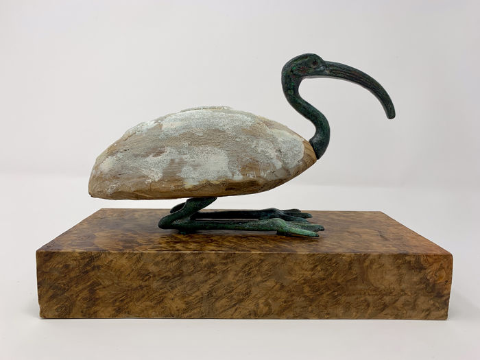Ancient Egyptian Bronze and Wood Figure of the god Thoth as an Ibis Bird  - 13×7.5×21 cm