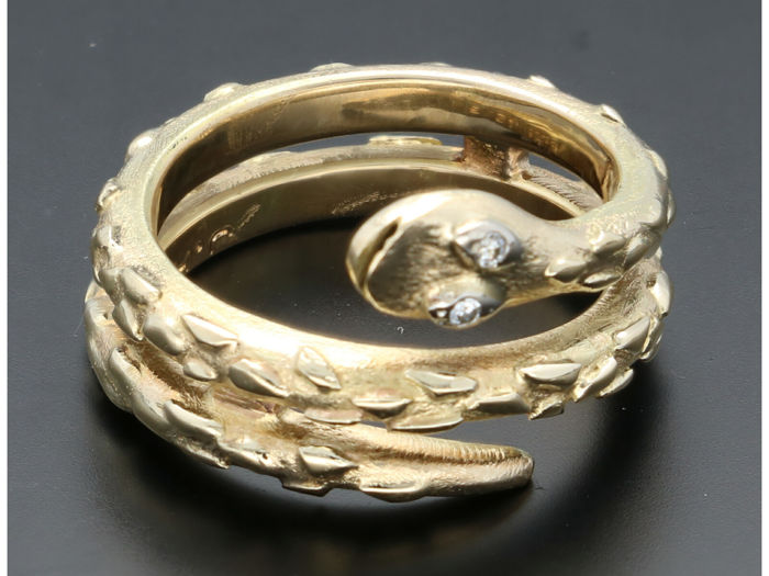 14 kt. Yellow gold - Ring - 0.01 ct Diamond