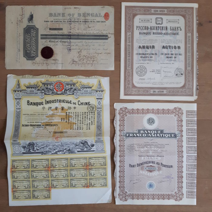 4 Asian Banks1905-1928 (4) - Paper Curio Collections for sale