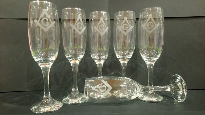 Set 6 Masonic Flut met team en kompas (6) - Glas