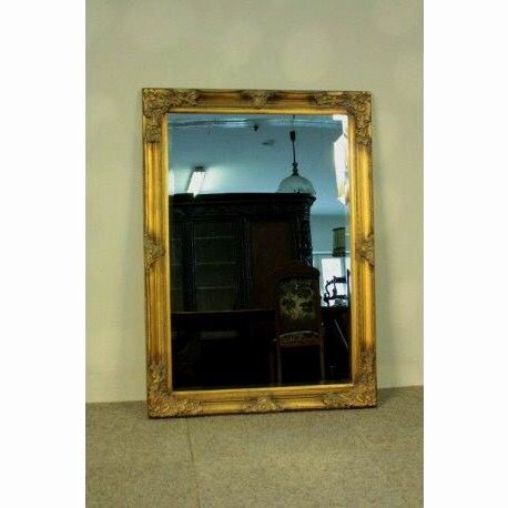 A large mirror with beautiful ornaments - antique gold - Gilt, Glass, Wood