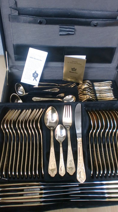 Solingen  - SBS LUXURY cutlery VIENNA in a suitcase 70 parts (70) - 23/24 carat gold plated, 1000 pure gold original price 1750 €