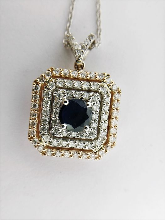 18 carats Bicolore - Collier et pendentif - 0.71 ct Saphir - Diamants