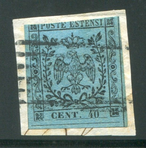 Modena 1852 - 40 cents sky blue on fragment - Sassone N. 5