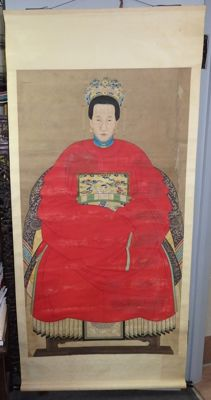 """Portrait painting - Χαρτί - Lady - Extra large 147cm portraits with """"Certificate of Antiquity""""  - Κίνα - Qing Dynasty (1644-1911)"""