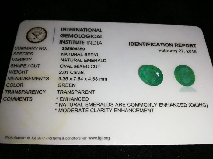 1 pcs Green Emerald - 2.01 ct