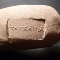 Ancient Greek, Hellenistic Terracotta Amphora Handle, stamped with Merchant`s Name