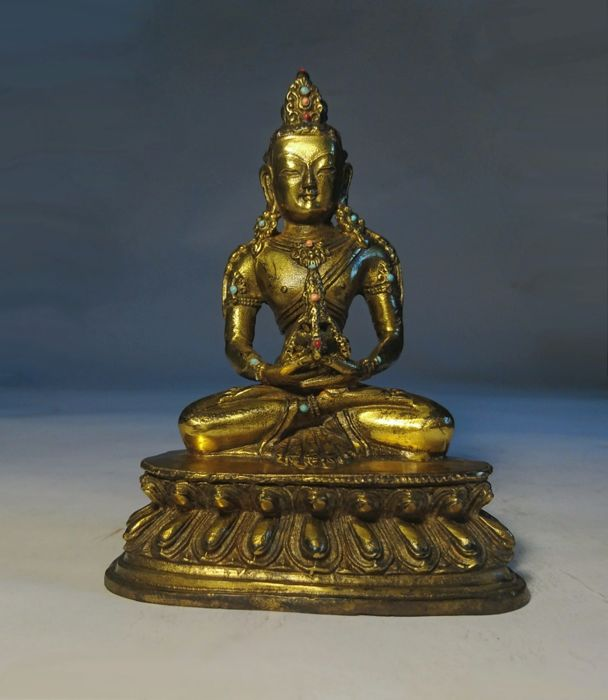 Jewelled Small Amitayus Buddha- Gilt Bronze Turquoise and Coral - Sino Tibetan  - Late 20th century