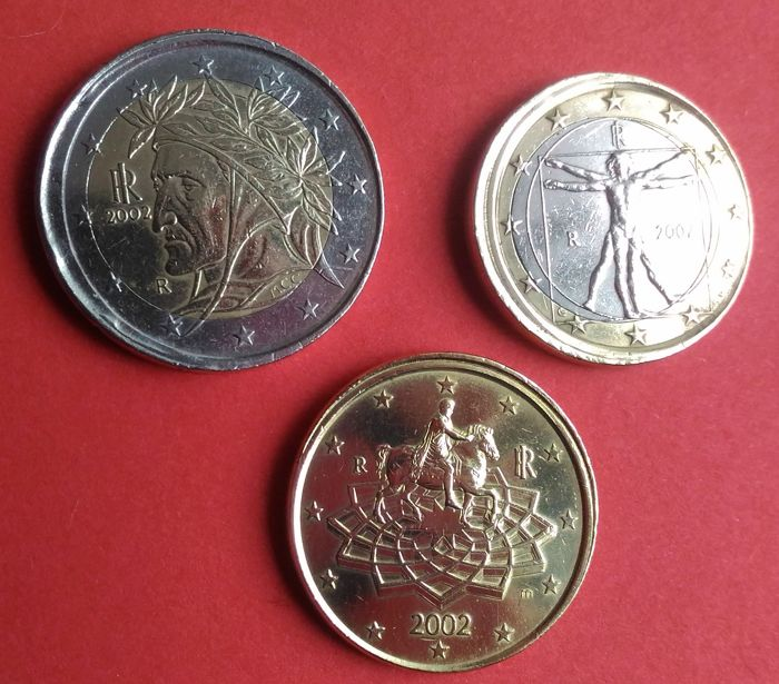 Italy - 2 euros - 1 euro - 50 cent - with planchet defects 2002