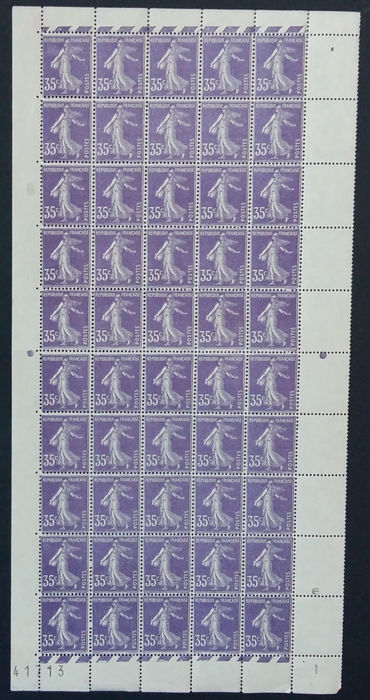 "Frankrijk 1907 - Semeuse 25 centimes, purple, variety on the ""S"" in the word ""POSTES"", panel of 50 - Yvert 142b"