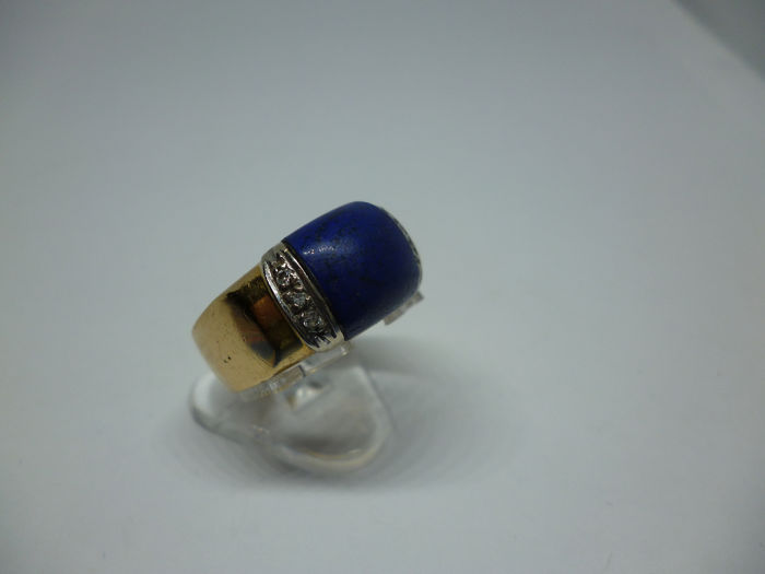 18 carats Or jaune - Bague - 5.00 ct Lapis-lazuli - 6 diamonds