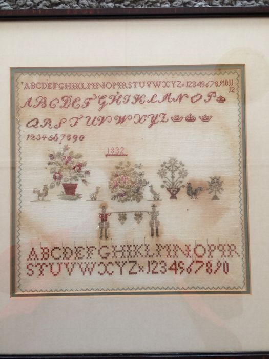 Embroidery, Merklap or Needle Sampler - Linen, Textiles - 19th century