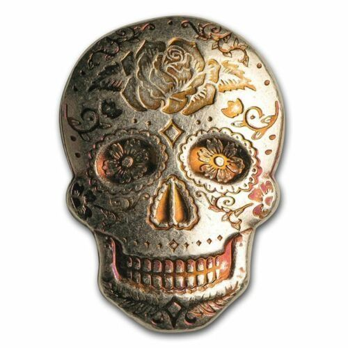 2 oz hand-poured silver skull - Day of the Dead: Rose - Zilver