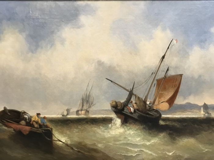 Attrib. George Callow. RA. (1825-1873)  - Fishing vessels in a fresh breeze off the coast.
