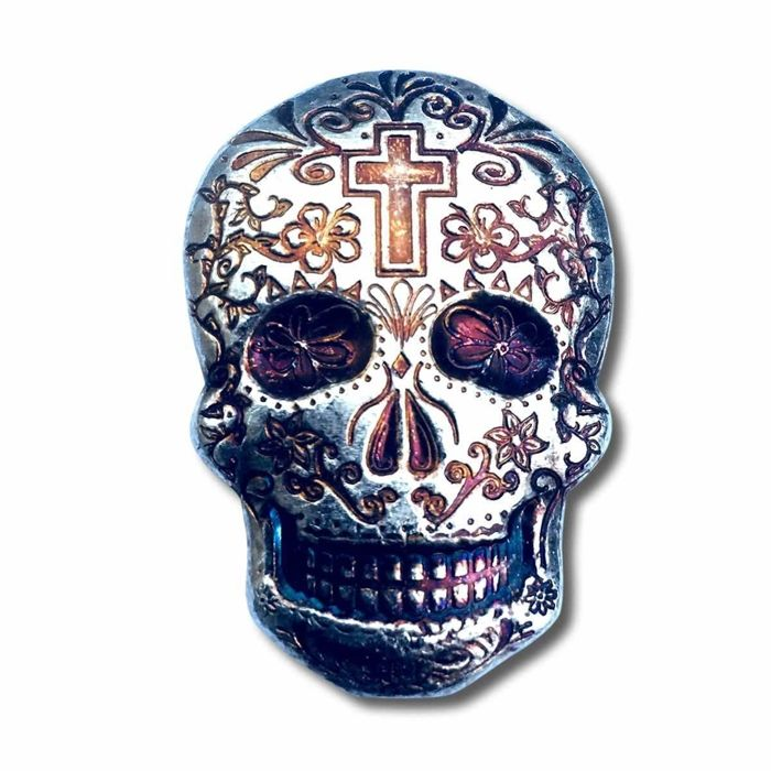 2 oz hand-poured silver skull - Day of the Dead: Cross - Zilver