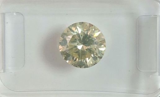 1 pcs Diamant - 1.45 ct - Briljant - faint greenish yellow - SI2
