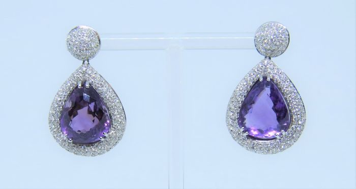 18 quilates Oro blanco - Pendientes - 20.00 ct Amatista - Diamante