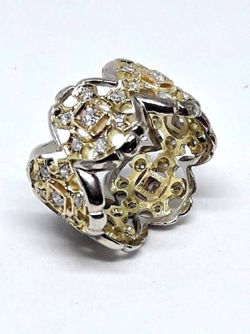 18 kt. White gold, Yellow gold - Ring - 1.10 ct Diamonds