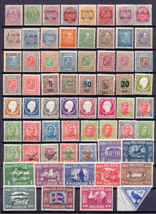 Islande 1876/1930 - Various stamps - Facit 2019