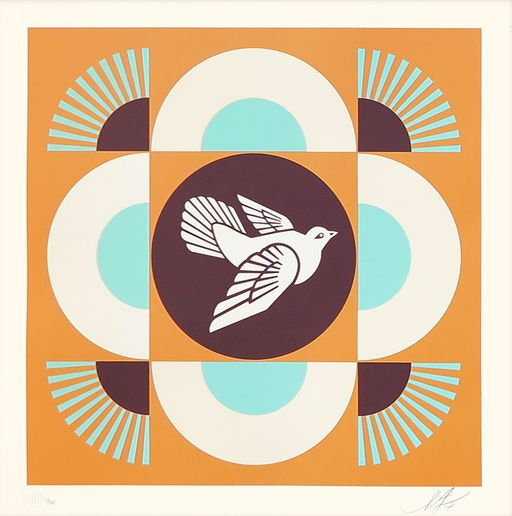 Shepard Fairey (OBEY) - Geometric Dove (Blue/Orange Edition) + Bonus