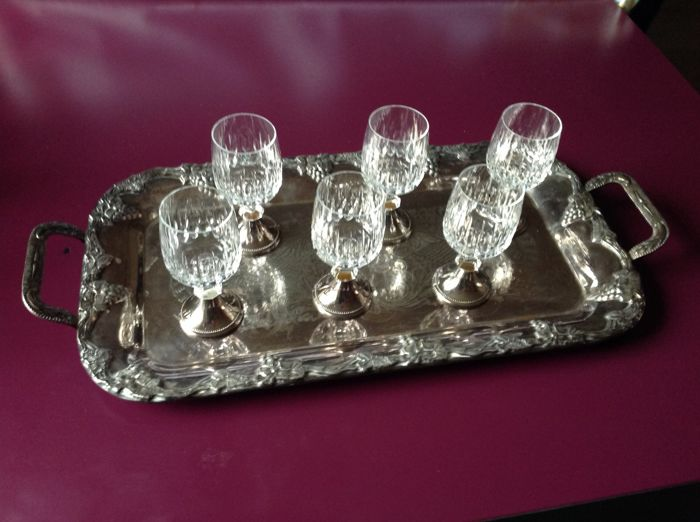 6 crystal glasses with silver base and tray (1) - Silver laminated - France - Early 19th century