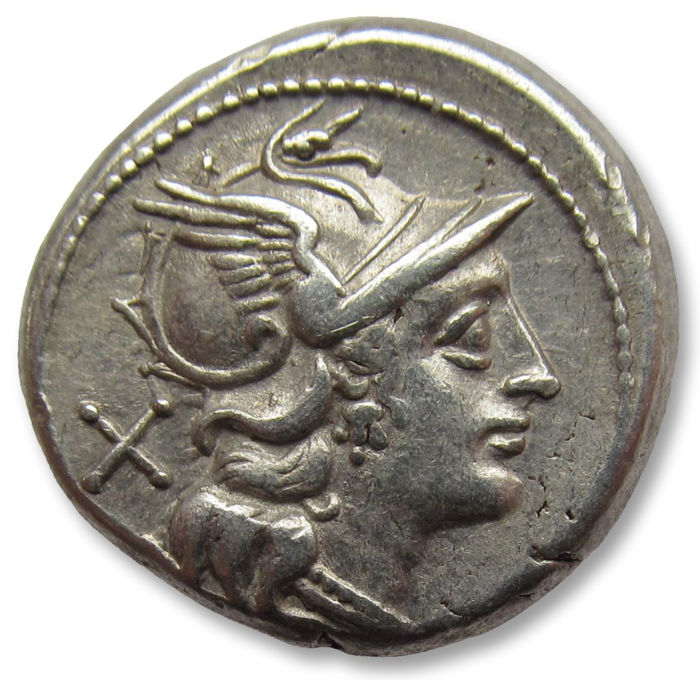 Romeinse Republiek - Anonymous issues. AR Denarius, Rome 157-156 B.C. - beautiful condition - Zilver