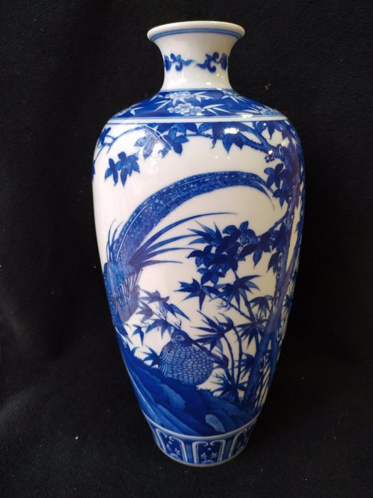 Vase (1) - Blue and white - Porcelain - Chinese Qing Dynasty