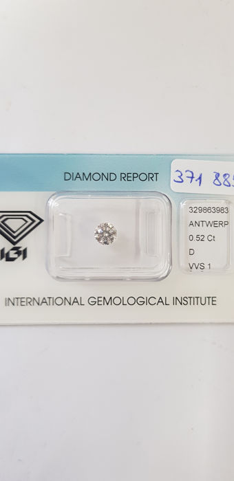 Diamant - 0.52 ct - Brillant - D (farblos) - VVS1