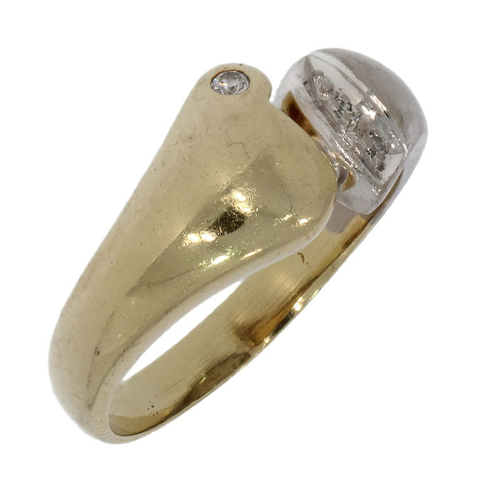 14 kt. White gold, Yellow gold - Ring - 0.03 ct Diamond