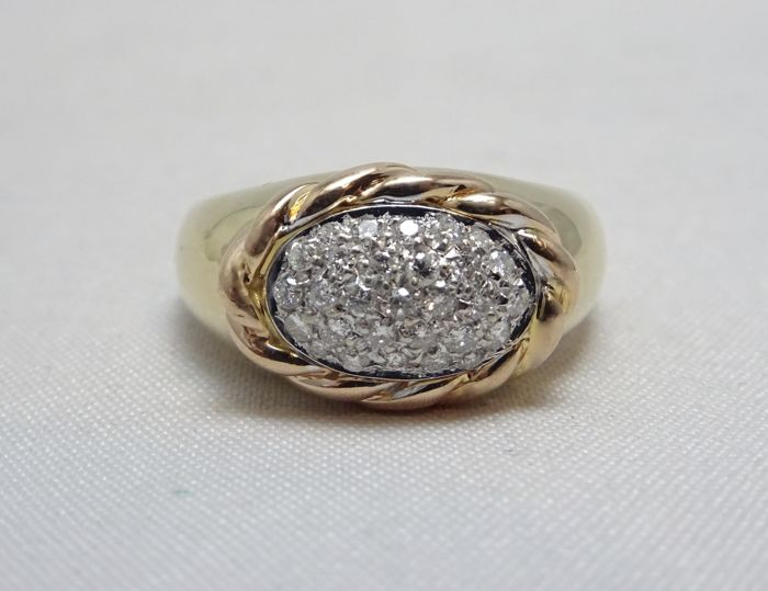 18 kt. Pink gold, White gold, Yellow gold - Ring - 0.45 ct Diamond