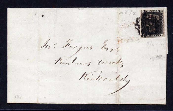 1840 - QV 1d Black Plate 5 Cover with Leeds Maltese Cross - Stanley Gibbons 2