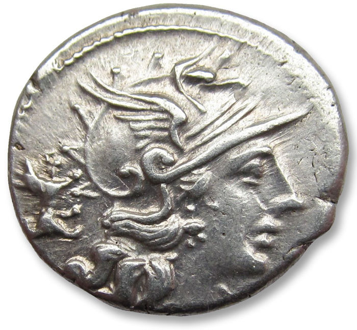 Romeinse Republiek - AR Denarius, C. Antestius, Rome 146 B.C. - beautiful condition, dog symbol on obverse - Zilver