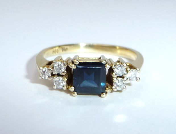 14 quilates Oro amarillo - Anillo Sapphire 1.0 ct./diamonds