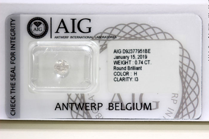 Diamant - 0.74 ct - Briljant - H - P3