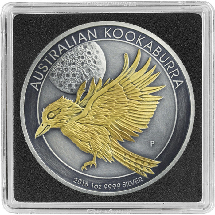 Australien - 1  Dollar 2018 Kookaburra Antique Finish Gilded Box & Zertifikat - 1 Oz - Silber
