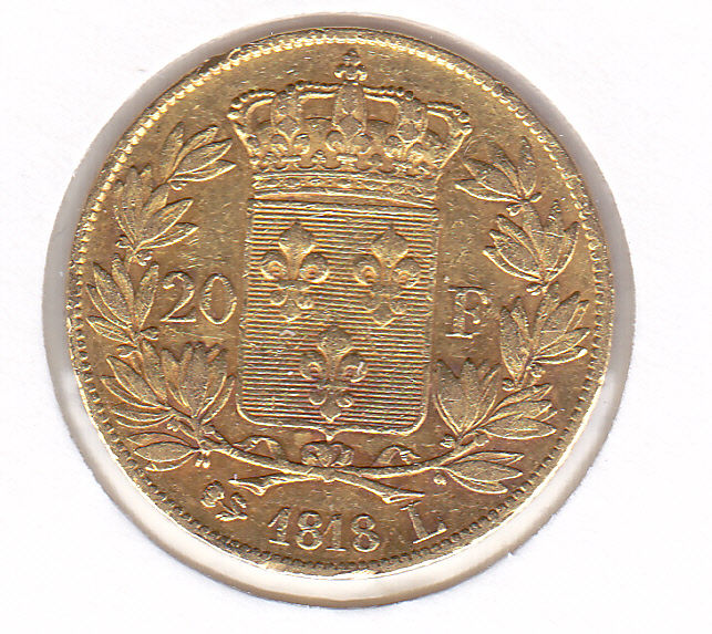 France - 20 Francs 1818 L Louis XVIII  - Or