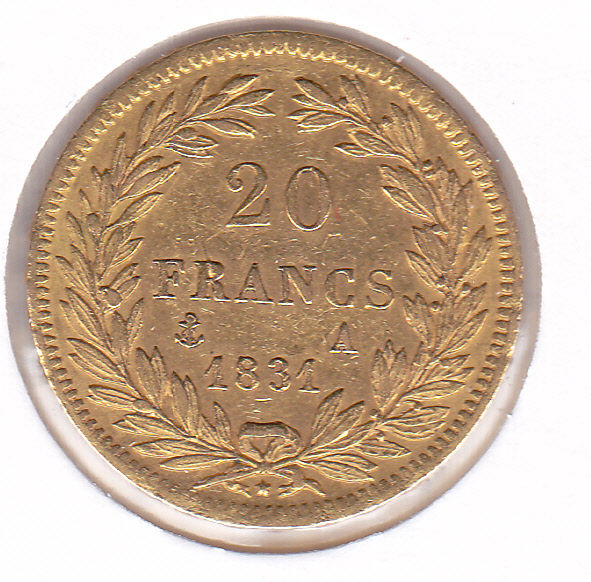 France - 20 Francs 1831 A Louis Philippe I - Or