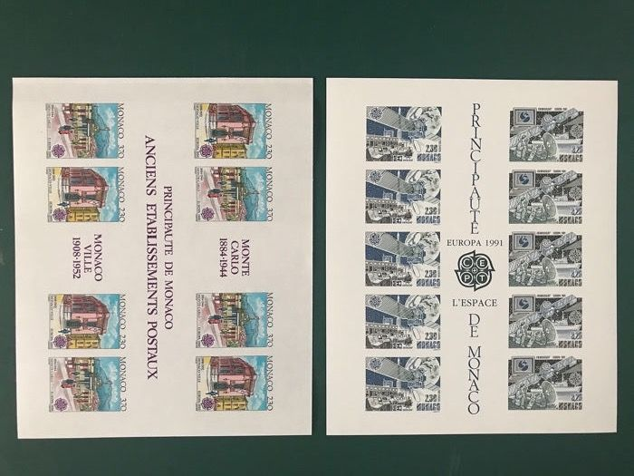 Monaco 1990/1991 - Imperforate blocks WU CEPT postal buildings and space programme - Maury 1759A en 1805A